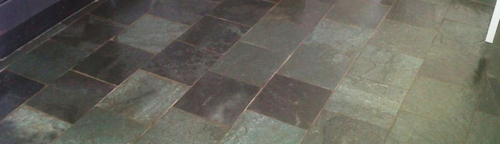 Slate tiled floor cleaned and sealed in Burton on Trent