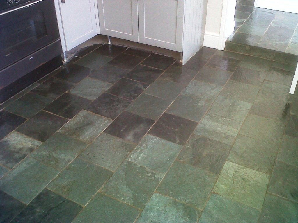 Green slate tile flooring