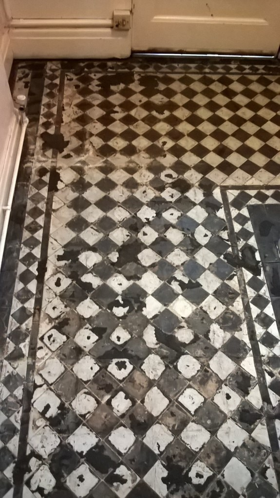 Victorian Tiled Floor Before Cleaning in Stoke-on-Trent