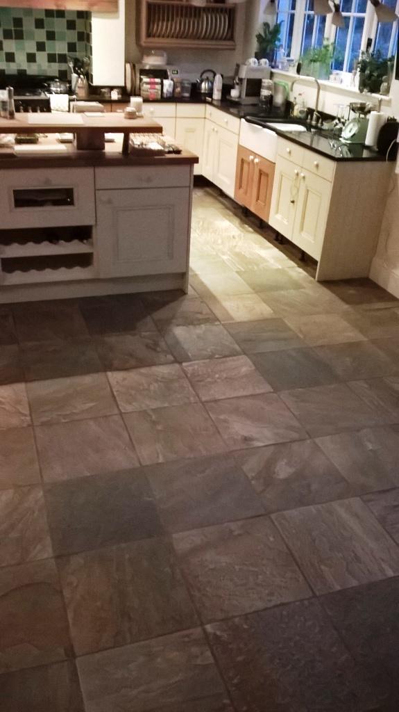 Slate Tiled Floor Before Cleaning Burton-on-Trent