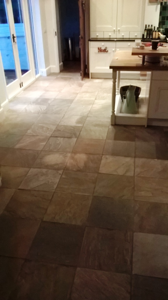 Slate Tiled Floor Before Cleaning Burton-on-Trent