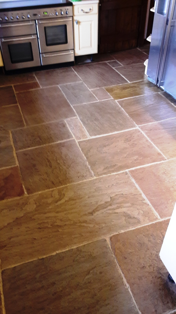 Sandstone kitchen floor after cleaning Rugeley