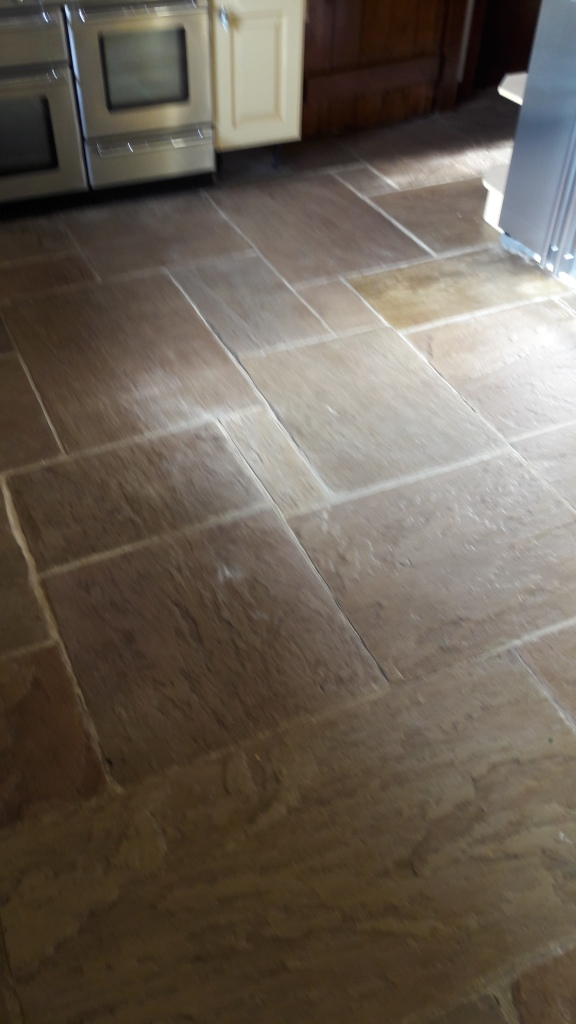 Sandstone kitchen floor before cleaning Rugeley