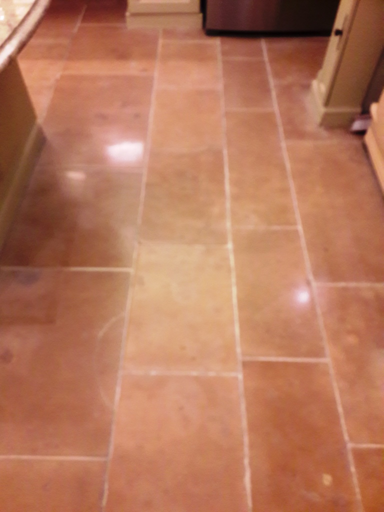 Limestone Tiled Kitchen Floor in Tutbury After Stain Removal
