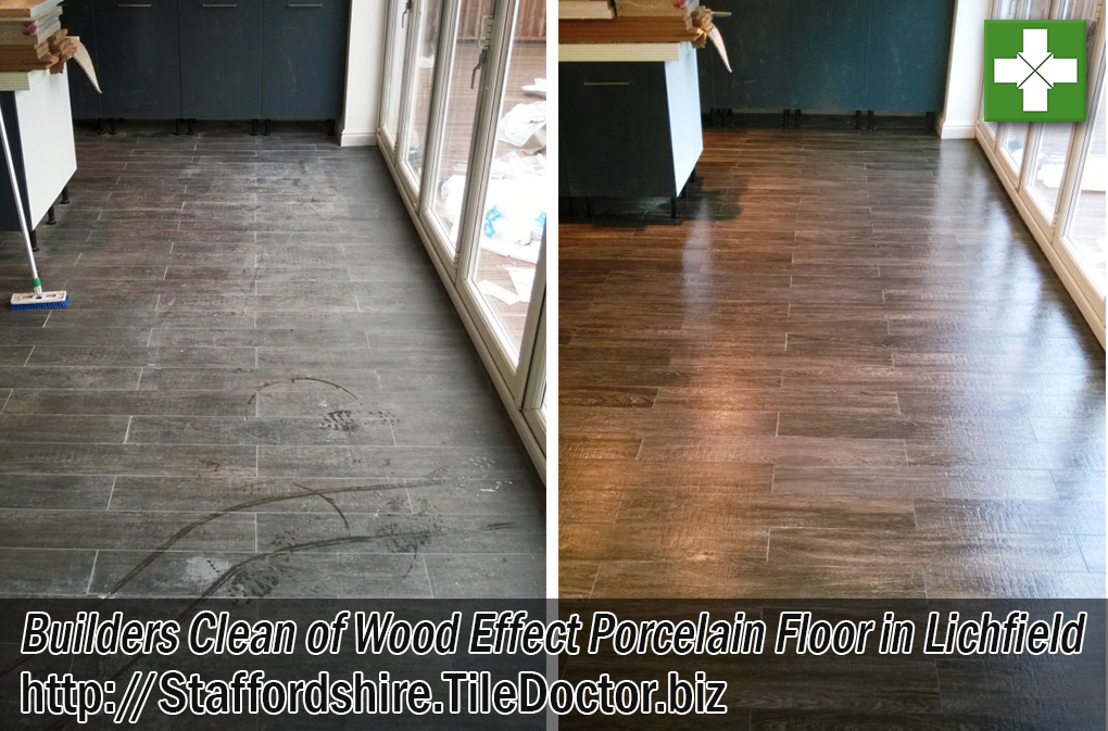 Wood Effect Porcelain Tiled Floor Before and After Builders Clean Lichfield