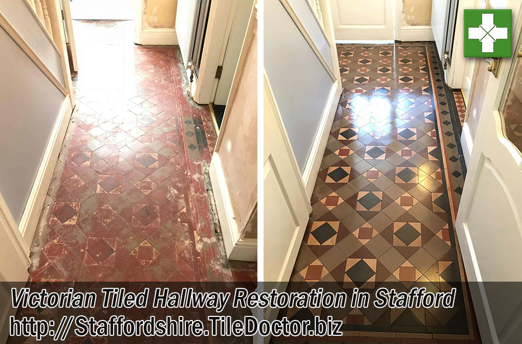 Victorian Hallway Tiles Before After Restoration Stafford