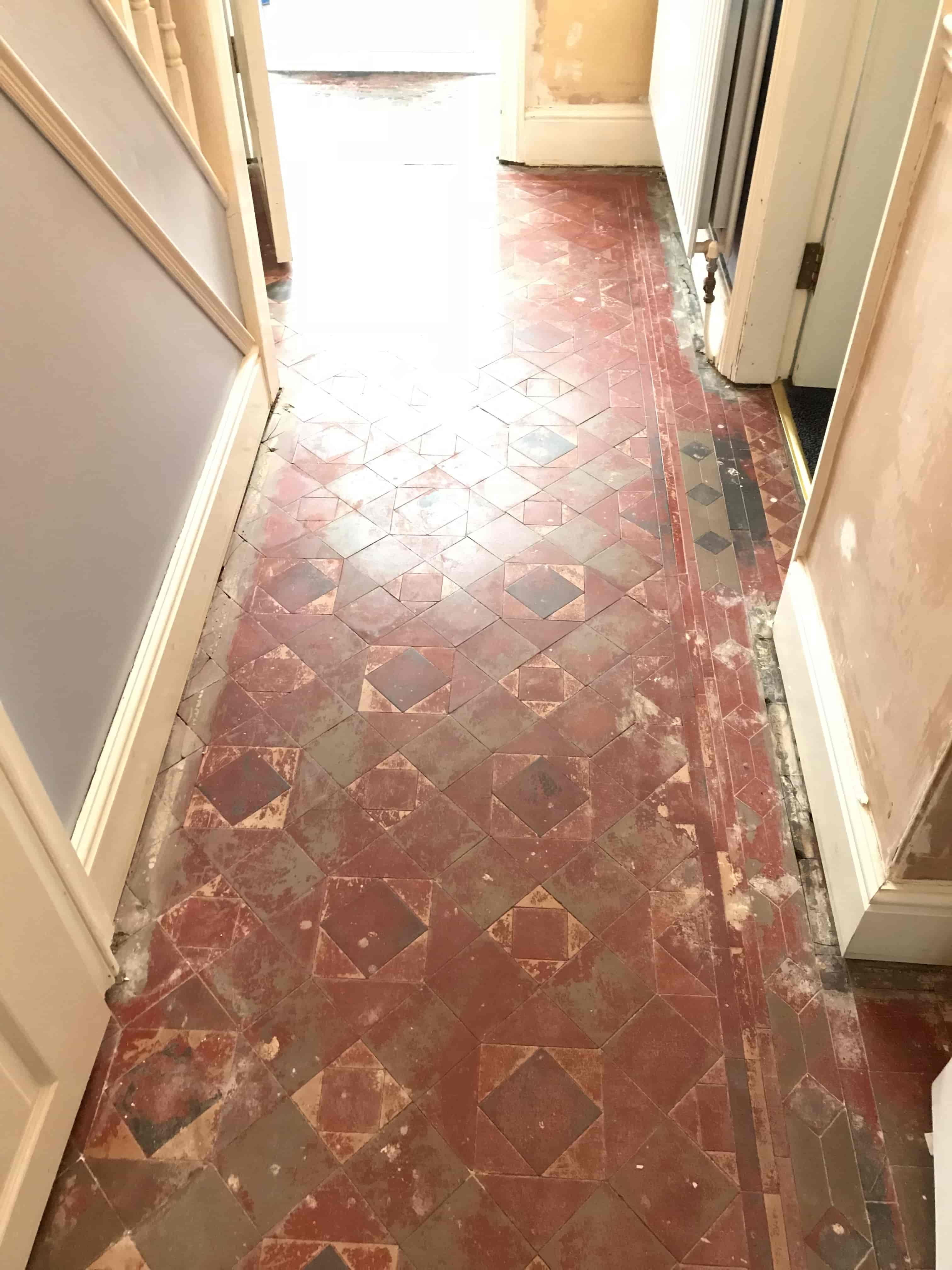 Victorian Tiled Hallway Before Restoration Stafford