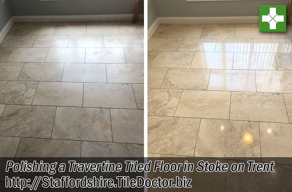 Travertine Tiled Kitchen Floor Before and After Polishing Stoke-on-Trent Staffordshire