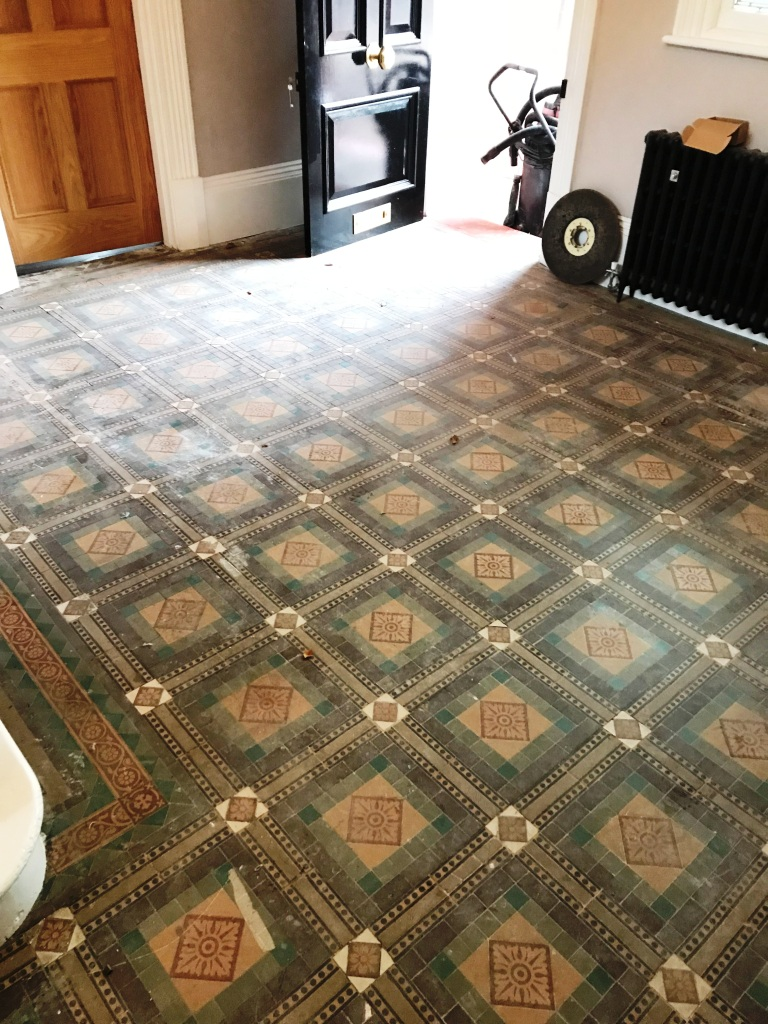 Old Victorian Tiled Floor Sutton Coldfield Vicarage Before Cleaning