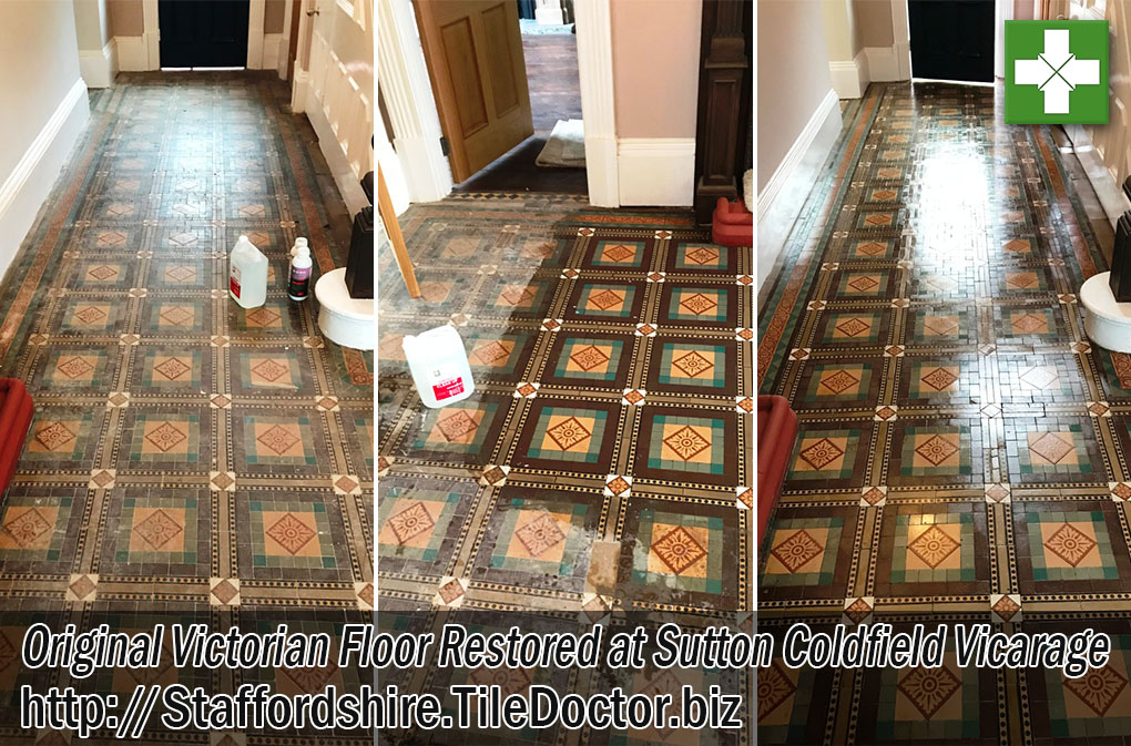 Old Victorian Tiled Vicarage Floor Before After Restoration Sutton Coldfield