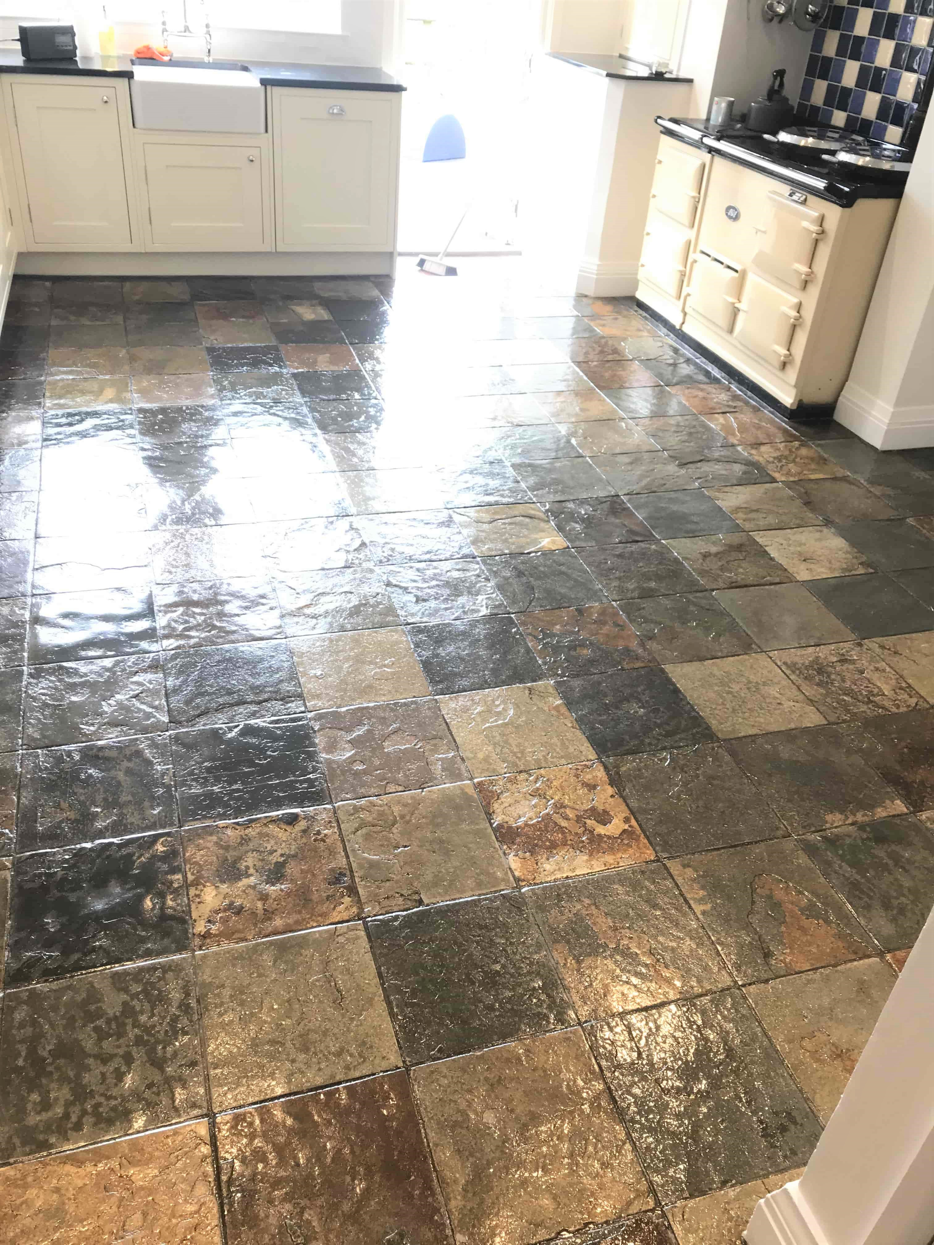 Removing Varnish From Slate Floor Tiles In Cragg Vale Calderdale