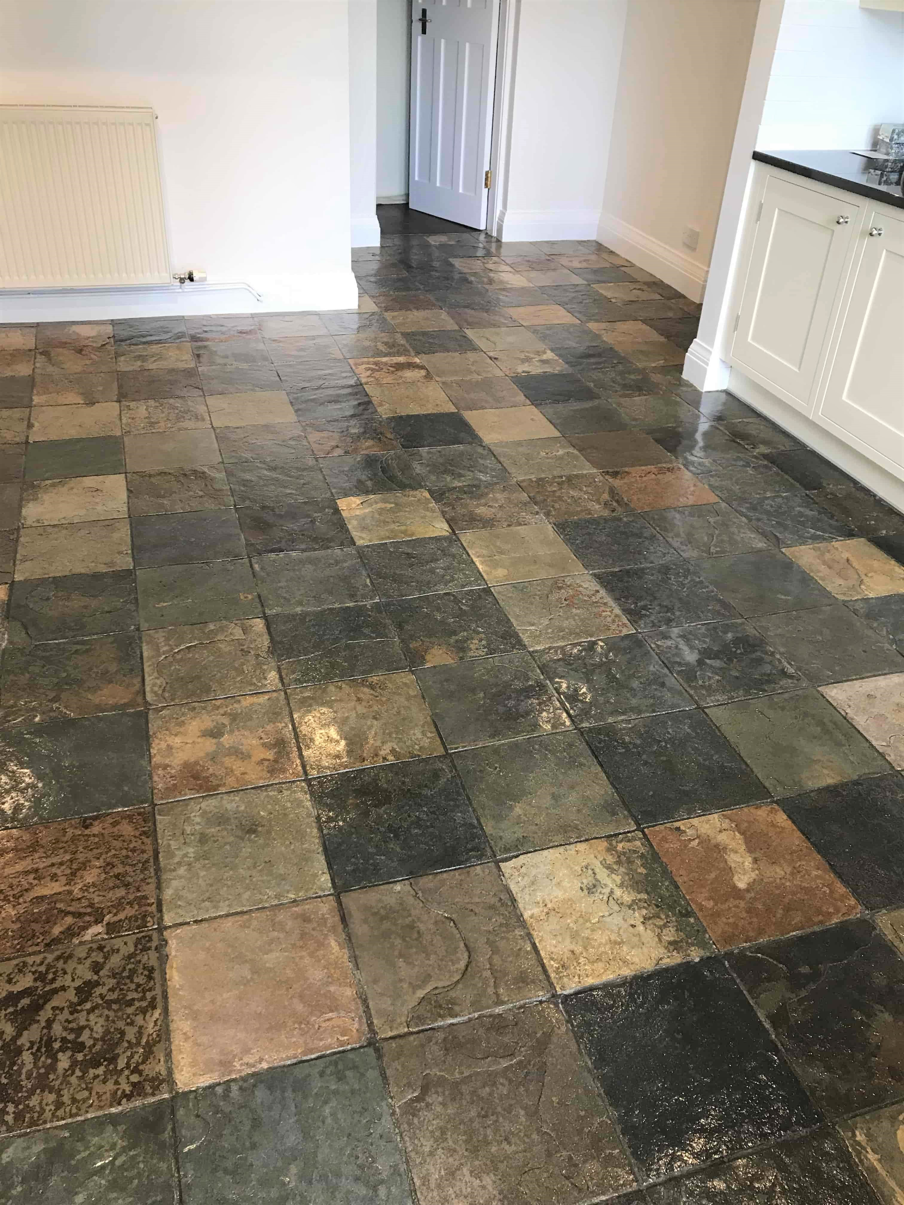 Multi-Coloured Slate Tiled Kitchen Floor After Cleaning and Sealing Sutton Coldfield
