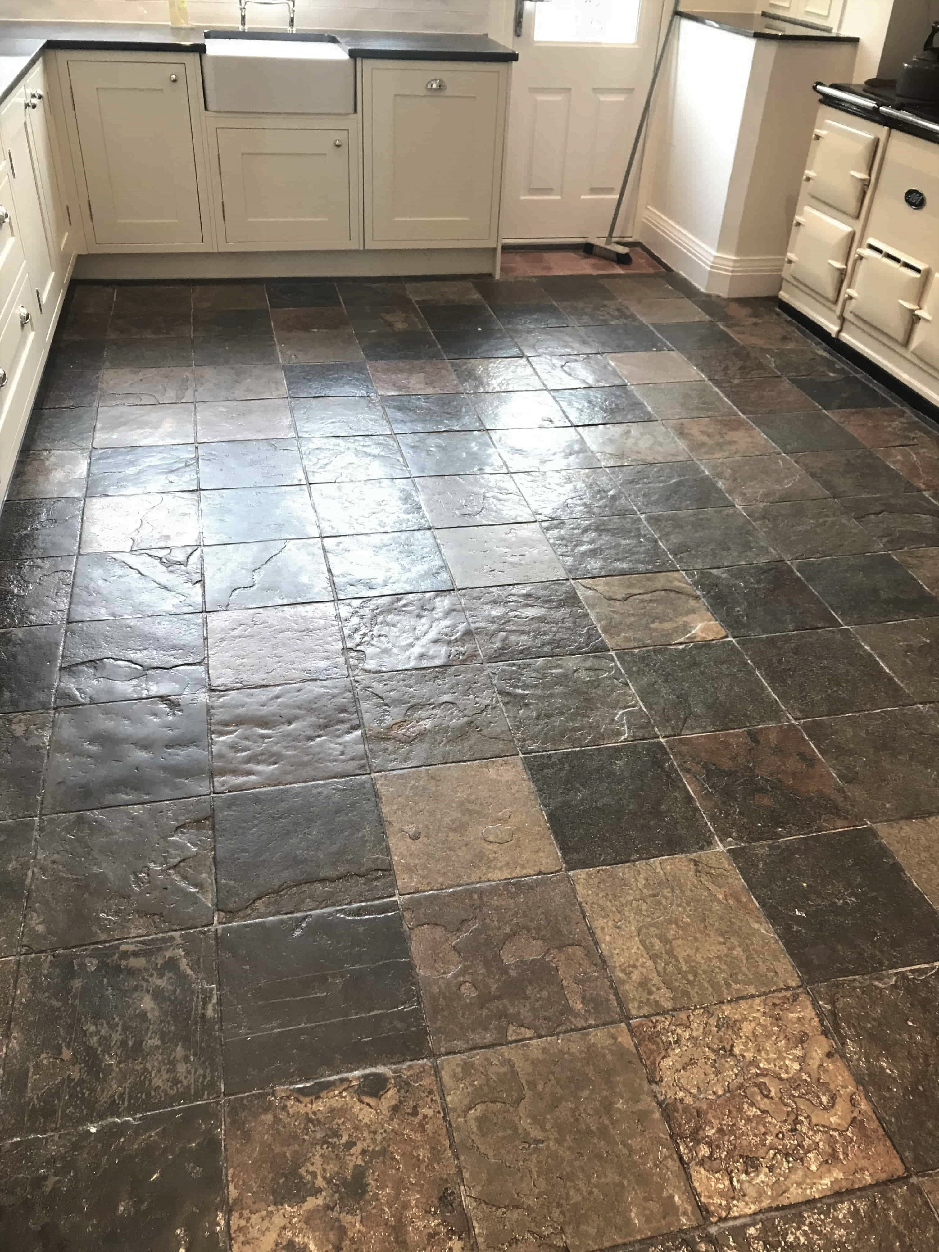 Multi-Coloured Slate Tiled Kitchen Floor Before Cleaning and Sealing Sutton Coldfield