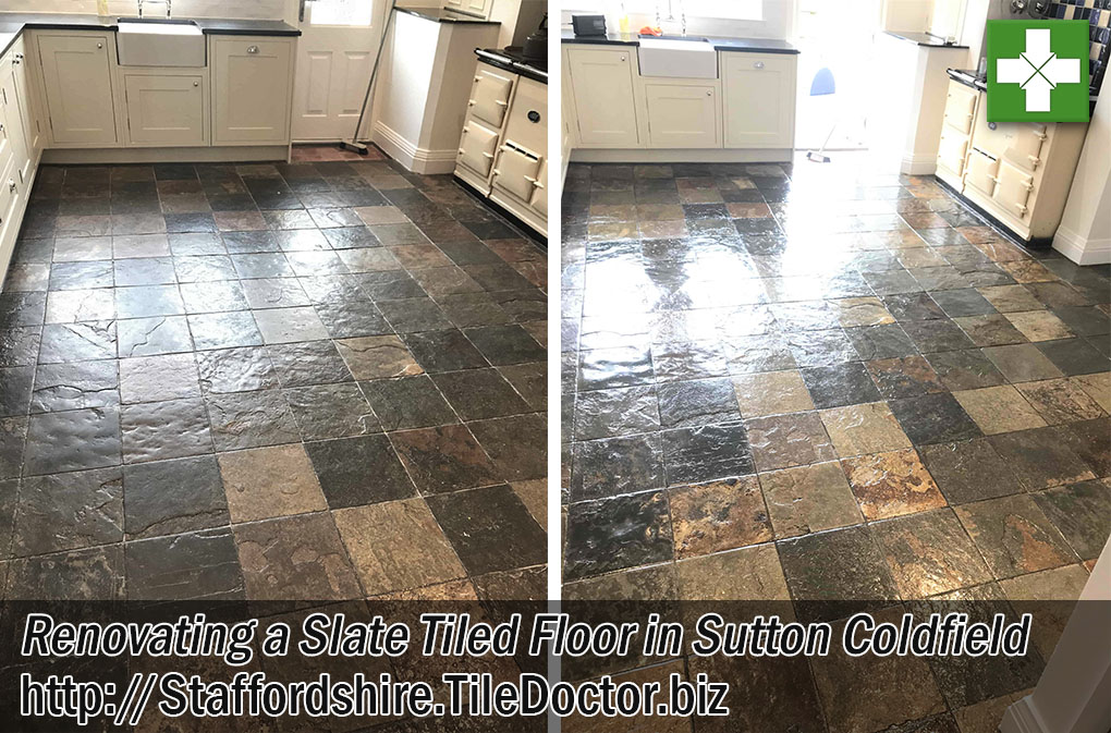 Slate Tiled Kitchen Floor Cleaned Sealed in Sutton Coldfield