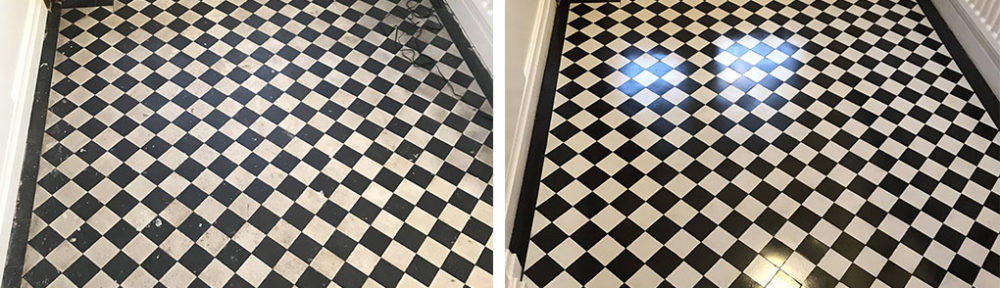 Chequered Victorian Tiled Hallway Floor Refurbished in Stoke-on-Trent