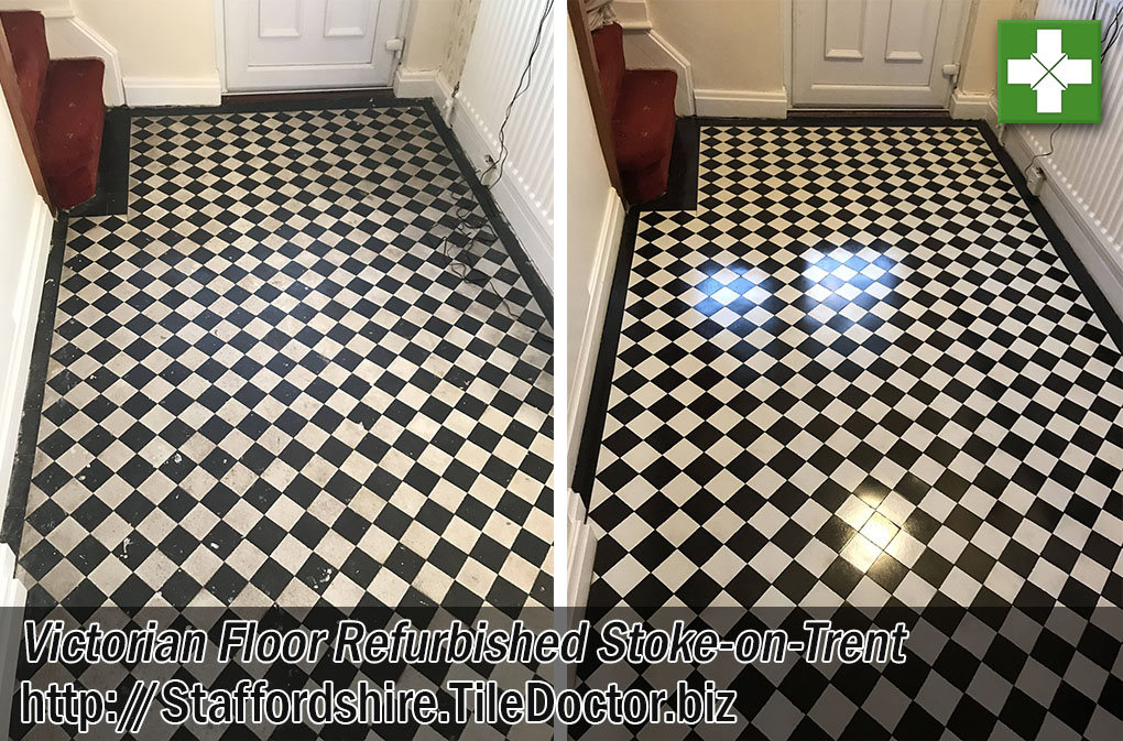 Victorian Tiled Floor Before After Refurb Stoke-on-Trent