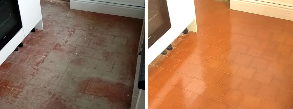 Quarry Tiled Kitchen Floor Restored in Stoke-on-Trent
