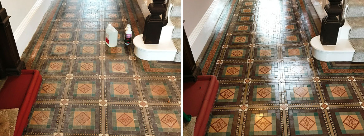 Old Victorian Tiled Floor Sutton Coldfield Vicarage Before and After Sealing