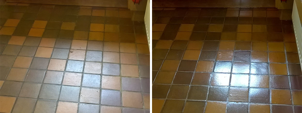 Quarry Tiled Kitchen Before and After Cleaning in Tutbury Burton on Trent