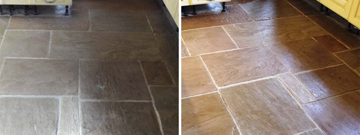 Sandstone Kithcen Floor Before and After Cleaning Rugeley