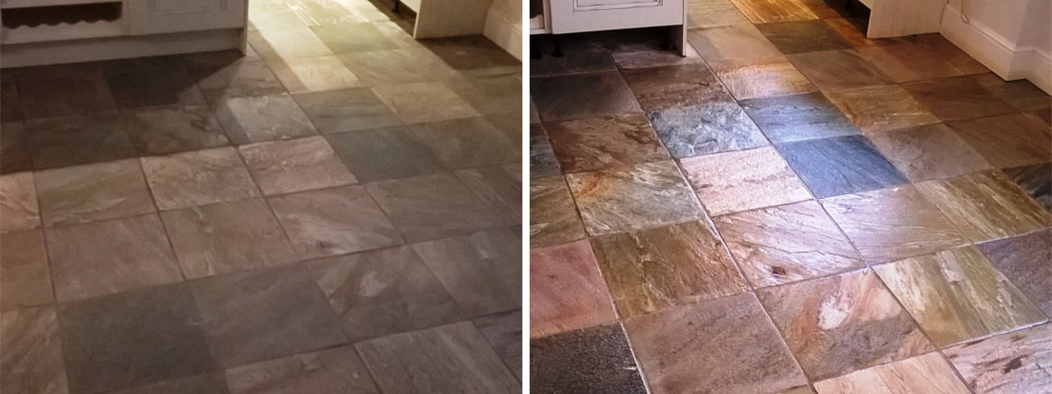 Slate Tiled Floor Before and After Cleaning Burton on Trent