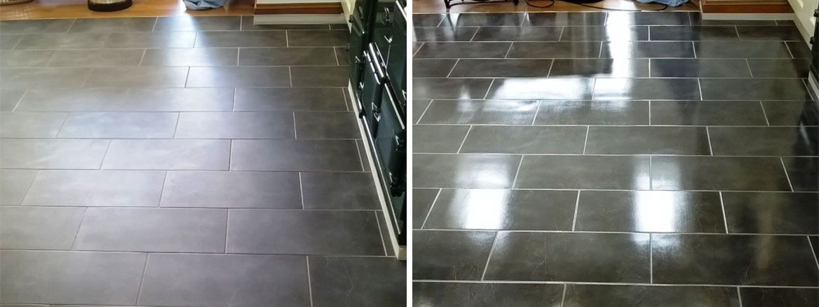 Slate Tiles in Burton on Trent Before and After Cleaning