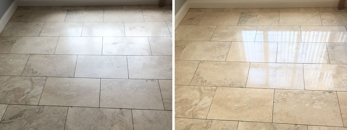 Travertine Kitchen Floor Polished in Stoke on Trent