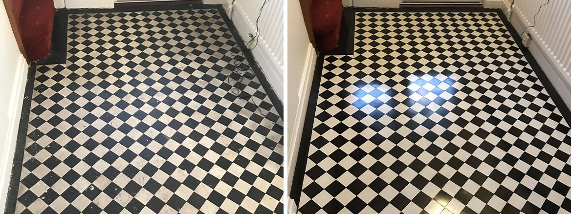 Victorian Floor Before and After Cleaning Sealing Stoke on Trent