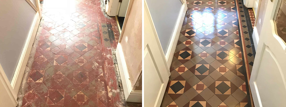 Victorian Tiled Hallway Before and After Restoration Stafford