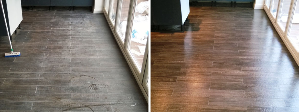 Wood Effect Porcelain Lichfield Before and After Cleaning