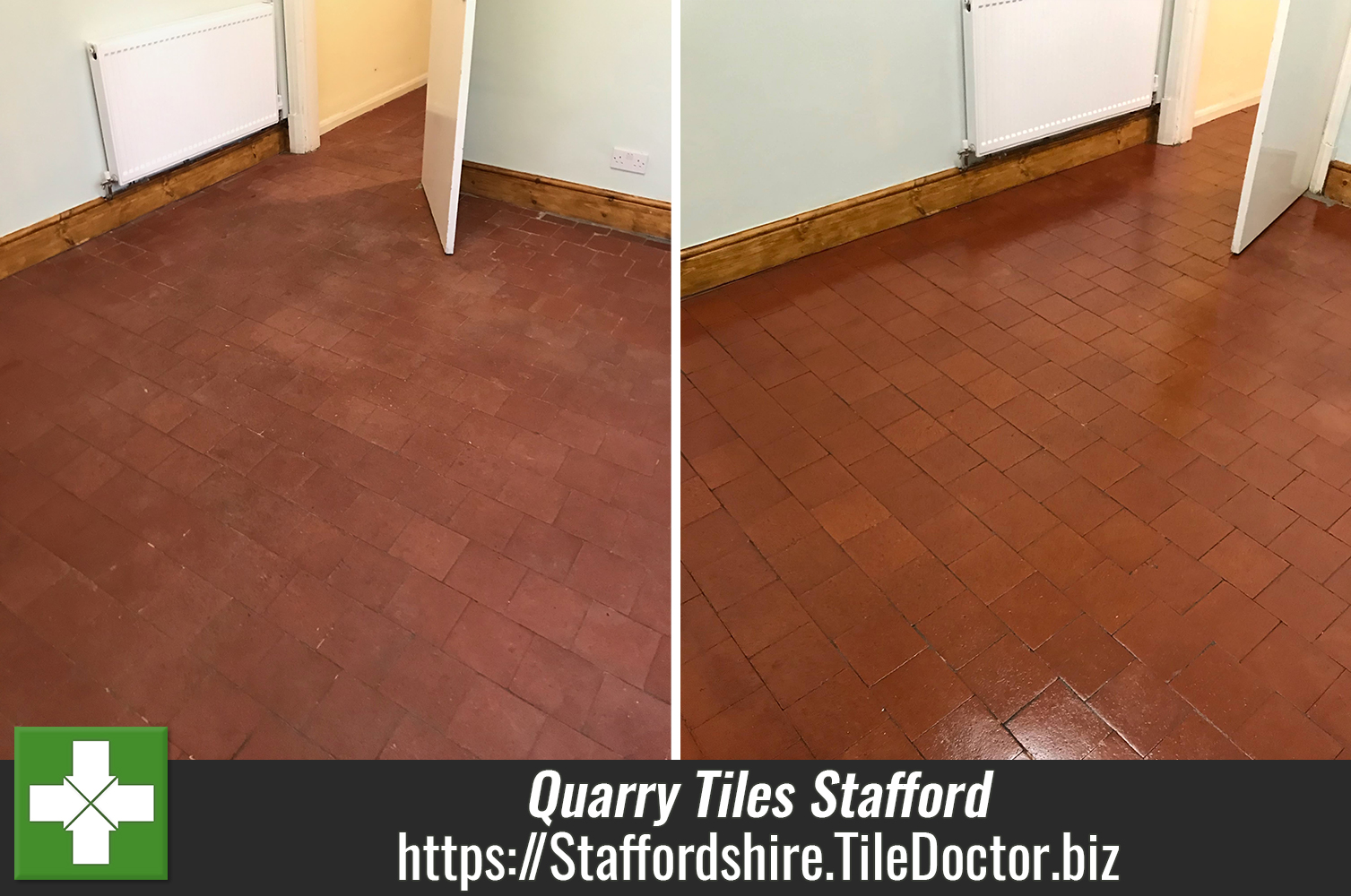 Restorative Cleaning and Sealing of a Quarry Tiled Floor in Stafford